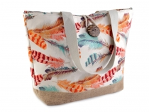 Tote Bag with Feather Print 33x50 cm